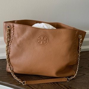 Tory Burch Marion Whipstitch Bag in Camel 🐫